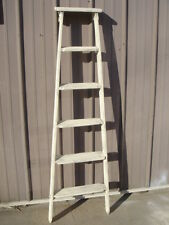 Vintage Wooden 6 Step Ladder Shelf - These Ladders Lean to Make Great Display