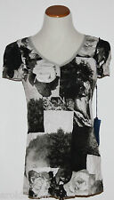 Simply Vera VERA WANG~Woman's Black/White Short Sleeve Crinkle Top~Size XS~NWT~~