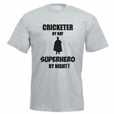CRICKETER BY DAY SUPERHERO BY NIGHT - Funny / Cricket Themed Mens T-Shirt