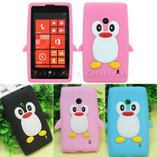 Cartoon Penguin Soft Silicone Back Skin Case Cover Protector For Nokia Lumia 520