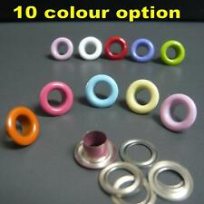 100/1000x Inner dia 5mm Outer dia 10mm Metal eyelets with washers 10 colour