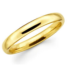 14K Solid Yellow Gold 3mm Plain Men's and Women's Wedding Band Ring