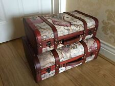 Vintage Chic World Map Case Atlas Suitcase Storage Trunk Wooden Wedding Post Box