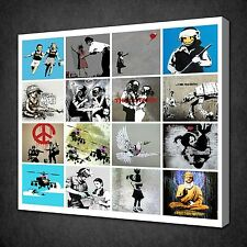 BANKSY COLLAGE CANVAS WALL ART PICTURES PRINTS VARIETY OF SIZES FREE UK P&P