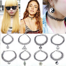 Tattoo Choker Stretch Charm Necklace Black Retro Henna Vintage Elastic Boho-02