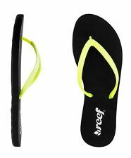 NEW REEF GIRLS STARGAZER BLACK NEON YELLOW FLIP FLOPS SANDALS WOMENS 6 7 8 9 10