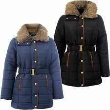 New Ladies Plus Size Padded Quilted Belted Winter Coats Fur Neck Hooded Jackets