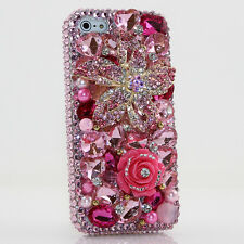 iPhone 6 6S / 6S Plus 5S Bling Crystals Case Cover Pink Flowers Frontplate