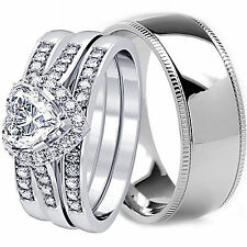 His/Her TITANIUM & STERLING SILVER Princess Cut Engagement Wedding Band Ring Set