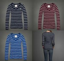 ABERCROMBIE & FITCH A&F Long Sleeve Striped MOLLY V Neck Shirt Top NEW $38