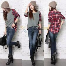 XD#3 Women Ladies Plaid Checked Long Sleeve Casual Loose T shirt Tops Blouse New