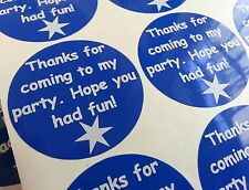 Party Bag Thanks for coming to my party sticker labels x 24     (0030)