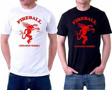 Fireball Whisky Logo T-Shirt Black and White T shirt Free shipping