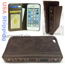 Vintage Leather Wallet BOOK Style Retro Case Slim Cover Apple iPhone 4 5s 6 PLUS