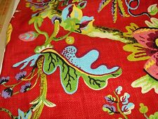Fabric Remnant Designer DURALEE 42012 Floral Red/Black/White 100% Cotton