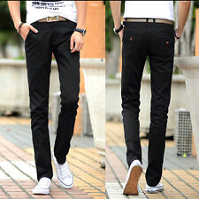 ON SALE HOT Men 100%Cotton Slim Fit Straight Pants Long Casual Stretch Trousers