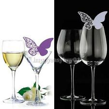 50 Pcs Butterfly Cut-out Place Escort Wedding Party Wine Glass Paper Cards