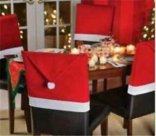 SANTA CLAUSE RED HAT CHAIR COVER CHRISTMAS KITCHEN DINNER PARTY DECOR 4-6-8 PCS