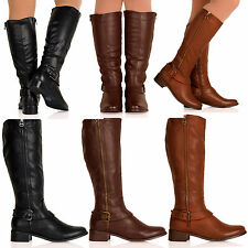 D8Y Womens Leather Look High Calf Under Knee Riding Boots Flat Ladies Shoes Size