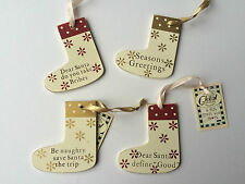 Small humourous, funny wooden Christmas tree decorations - gold, cream stockings