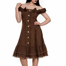 Loretta Brown Steampunk Dress. Vintage Brown Modern Victorian Dress Lace Edge
