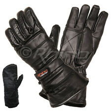 Leather Motorcycle Gauntlet Gloves with rain cover mitt and zip pocket Motorbike