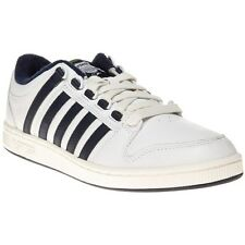 New Mens K-Swiss White Alvar Leather Trainers Tennis Style Lace Up