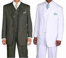 Men's 3 piece Fashion Tone on Tone Striped Suit With Vest  29197-V
