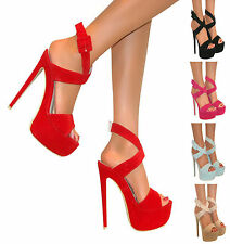 LADIES PEEP TOE PLATFORM HIGH STILETTO HEEL STRAPPY COURT SHOE SANDAL ZIP SIZE