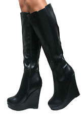 LADIES WOMENS WEDGE HEEL PLATFORM ZIP UP KNEE HIGH STRETCH LONG BOOTS SHOES SIZE
