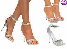 LADIES DIAMANTE SILVER STRAPPY ANKLE SANDALS SHOES HEELS WEDDING BRIDAL SIZE 3-8