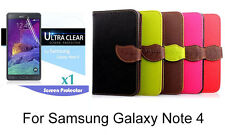 Screen Protector/Leaf design PU Wallet Case for Samsung Galaxy Note 4
