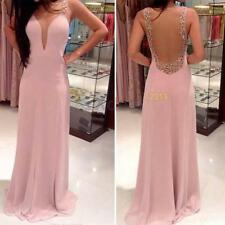 X# Women V Neck Backless Prom Ball Cocktail Party Maxi Dress Formal Evening Gown