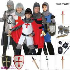 BOYS KNIGHT MEDIEVAL TUDOR HISTORICAL SWORD SHIELD KIDS FANCY DRESS COSTUME