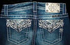 """$108 MISS ME """"THICK PICKED WHEAT STITCHED FLAPS"""" BOYFRIEND SKINNY ANKLE JEAN"""