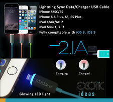 LED Glowing Lightning USB Data Charger Cable i Phone 6/6 Plus 5/5C/5S iPad Air 2