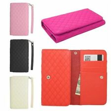 Quilted Wallet ID Card Holder Flip Case Pouch Cover for LG