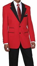 Men's 2pc Poplin Dacron Two Button Fashion Suit 7022 Solid Red/Black