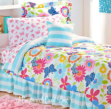 BUTTERFLY SUMMER Daisy BLOSSOM GIRL Pink Blue Comforter+Sheets+Sham Bed Set