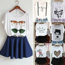 Vintage Women Ladies Short Sleeves Graphic Printed T Shirt Tee Blouse Tops BB