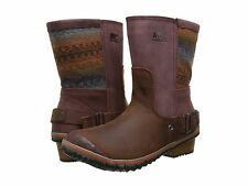 NEW - Women's SOREL SlimShortie Blanket Leather Boots - Madder Brown - 1567121