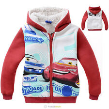Cars Lightning McQueen Kids Toddler Boys Girls Zipper Winter Fleece Hoodies Coat
