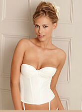 LA SENZA IVORY PLEATED BANDEAU BASQUE PADDED UNDERWIRED BRIDAL GLAMOUR   537