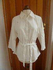 LA REDOUTE WHITE LINEN BLEND SHIRT TUNIC TOP BELTED UK 18  BNWOT