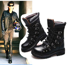 2014 PUNK Rock-Men WINTER Fashion Army Motorcycle COOL Boot Leather-special sale