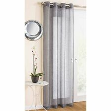 Marrakesh Grey Silver Ready Made Linen Look Sparkly Voile Eyelet Ring Top Panel
