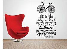 LIFE IS LIKE A BICYCLE vinyl wall art QUOTE sticker albert einstein