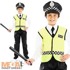 Policeman + Hat Boys Fancy Dress Uniform Police Man Kids Costume Childs Outfit