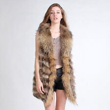 Real Rabbit Fur Knitted Vest Racoon Fur trimmed  Waistcoat