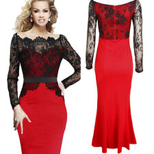 Women Lace Maxi Long Sleeve Prom Gown Cocktail Evening Party Fish Wedding Dress